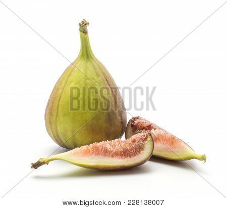 Fresh Figs Set Isolated On White Background One Purple Green Whole And Two Slices With Rose Flesh