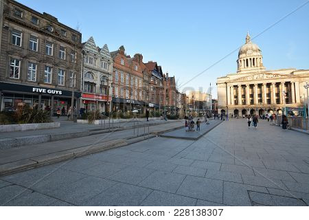 Nottingham, England - February 24, 2018: Tourists Shopping At The Shops On Old Market Square With Th
