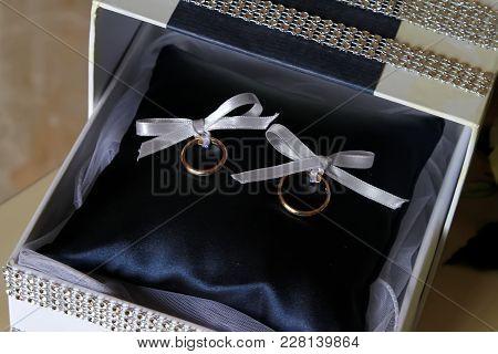 Wedding Ring In A Beautiful Box With Rhinestones Closeup