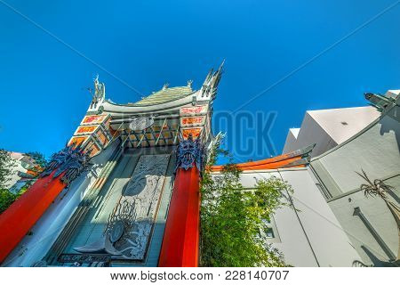 Los Angeles, Ca, Usa - November 02, 2016: Blue Sky Over Tcl Chinese Theater In Hollywood