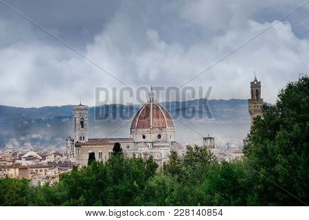 Ainy Day In Florence, The Sky With Dark Clouds Over The Dome Of The Cathedral Of Santa Maria Del Fio