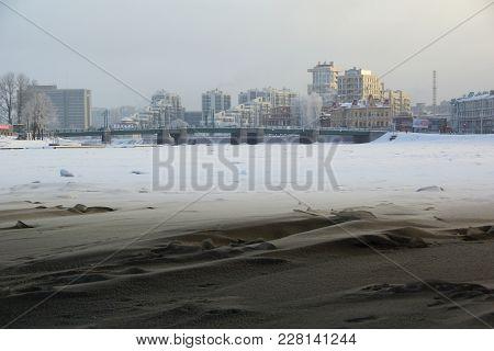 Winter Frosty Morning And The Great Krestovsky Bridge In St. Petersburg