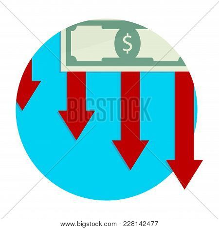 Finance Decline And Collapse, Bankruptcy And Devaluation, Down Economy Arrow, Vector Illustration