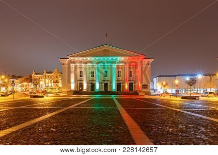 Town Hall In The Town Hall Square In The Night Illumination. Lithuania. Vilnius.