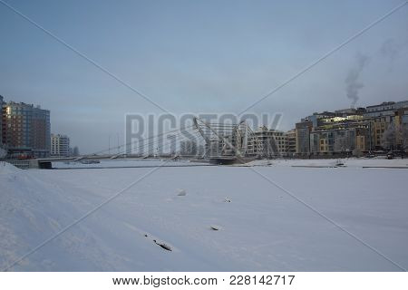 Winter Frosty Morning And Lazarevsky Bridge In St. Petersburg