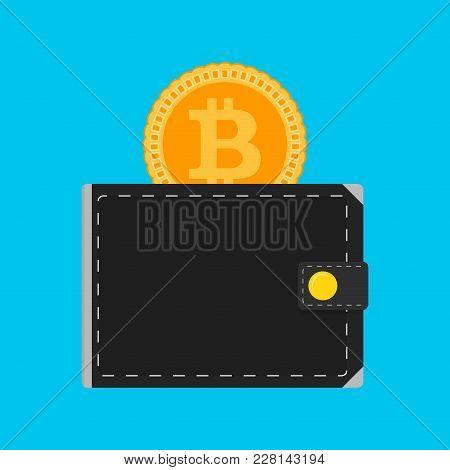 Bitcoin Wallet Isolated Flat. Vector Wallet With Money Bitcoin, Golden Coin Finance Technology Illus
