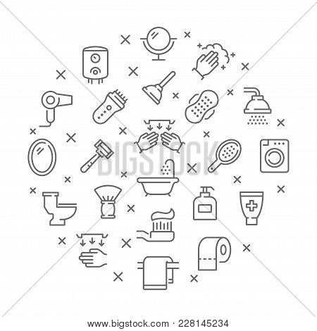 Collection Of Bathroom Thin Line Icons. Vector Eps8