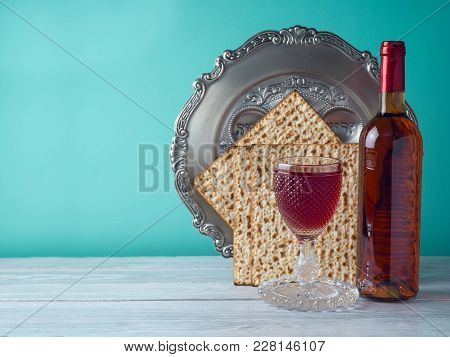 Passover Holiday Celebration Concept With Wine, Matzo And Seder Plate.