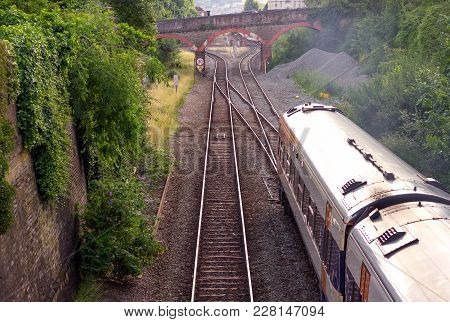 The Train Goes By Rail. In The Distance You Can See The Car Bridge. Exeter. Devon. Uk