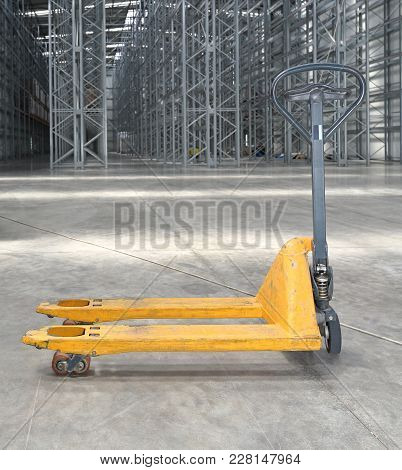 Pallet Jack Pump Truck In Distribution Warehouse
