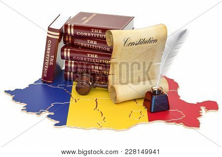 Constitution Of Romania Concept, 3d Rendering Isolated On White Background