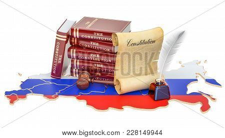 Constitution Of Russia Concept, 3d Rendering Isolated On White Background
