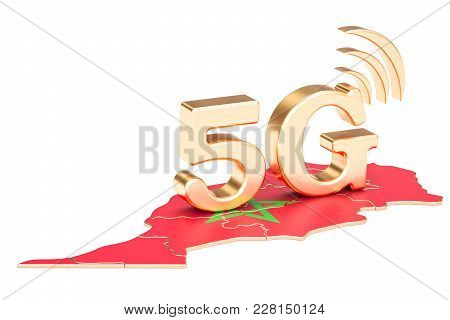 5g In Morocco Concept, 3d Rendering Isolated On White Background