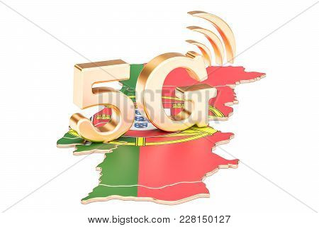 5g In Portugal Concept, 3d Rendering Isolated On White Background