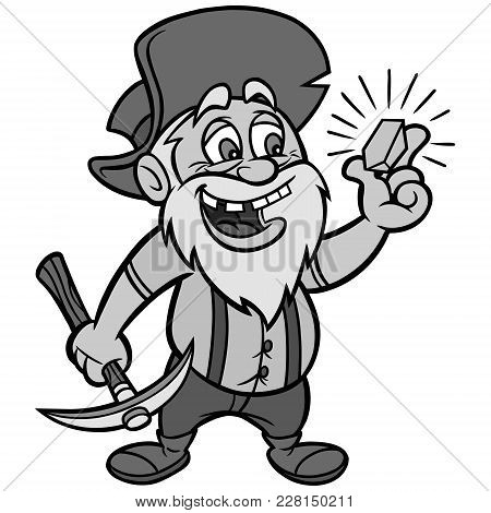 Gold Illustration - A Vector Cartoon Illustration Of A Gold Miner.