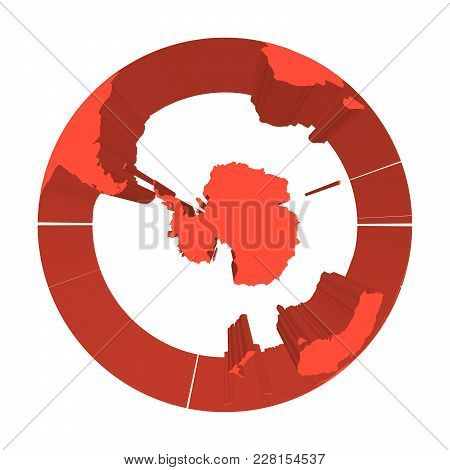 Earth Globe Model With Red Extruded Lands. Focused On Antarctica And South Pole. 3d Vector Illustrat