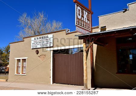 Tombstone, Arizona, February 6 ,2018: The O.k. Corral Gun Fight Site Sign And Building Is In Tombsto