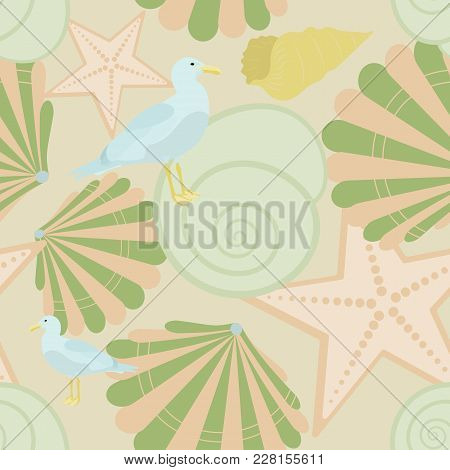 Pattern Background. Seamless Pattern Of North Sea With Shells And Sea Gull In Trendy Pastel Color To