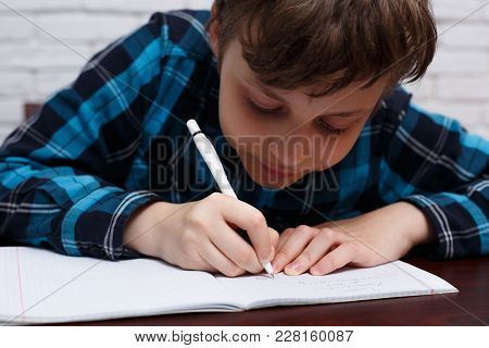 Close Up Of Diligent Schoolboy Writing Down A Task Into A Notebook.  Elementary School, Education, C