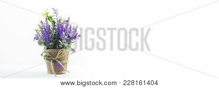 Flower On Table On White Background, Copy Space
