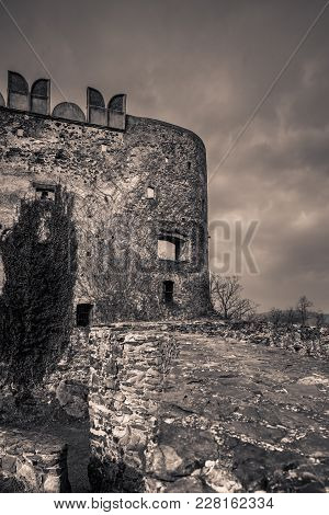 High And Massive Walls Of The Medieval Bolkow Castle In Lower Silesia, Poland