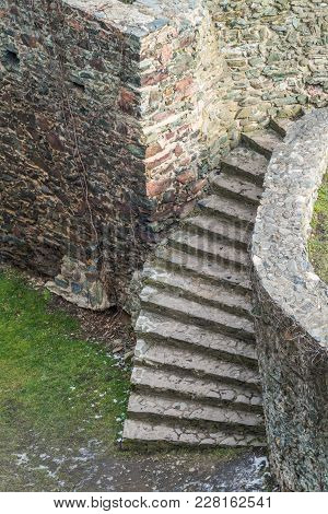 Stairs In The Courtyard Of The Ruins Of The Medieval Bolkow Castle In Lower Silesia, Poland