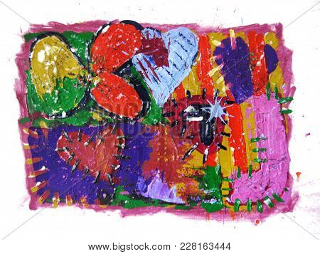 Love. Acrylic Painting Of Colorful Hearts In An Abstract Background.
