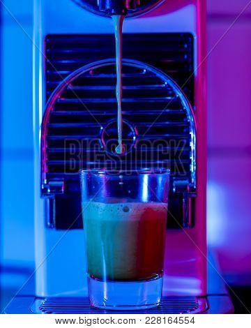 Coffee Machine Making A Glas Of Espresso