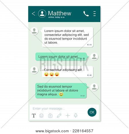 Messenger App Window Template. Chatting And Messaging. Social Network Concept. Realistic Vector Isol