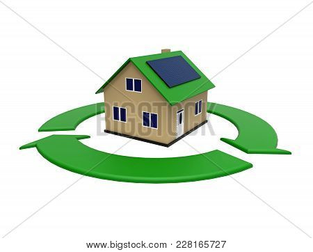Energy Efficient House With Solar Panel In A Green Circle, 3d Rendering, On White Background