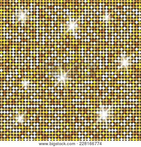 Glittering Gold Texture For Your Design. Stone Plate Paving Pattern. Geometric Seamless Vector Patte
