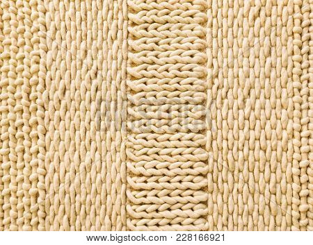 Warm Knitted Texture With Simple Ornament. Wool Background.