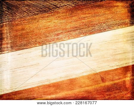 Vintage White And Orange Wood Background. Old Wooden Texture With Burnt Edges.
