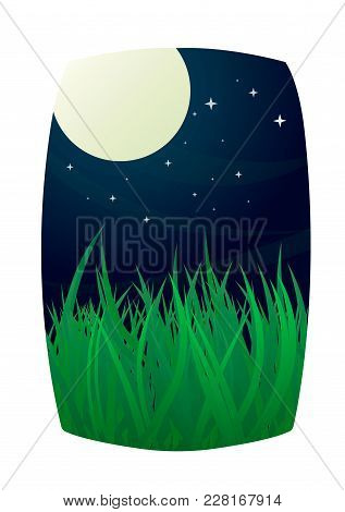 Full Moon And Starry Night Sky With Grass Meadow In The Foreground