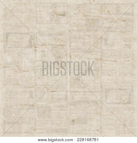 Old Newspaper Texture Square Background. Blurred Vintage Newspaper Background. A Blur Unreadable Old