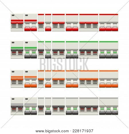 Illustration Of Electric Switches Big Set In Two Conditions Each Isolated On White Background
