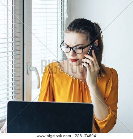 Angry Confident Businesswoman Arguing While Talking On Phone, Annoyed Woman Having Conflict During T