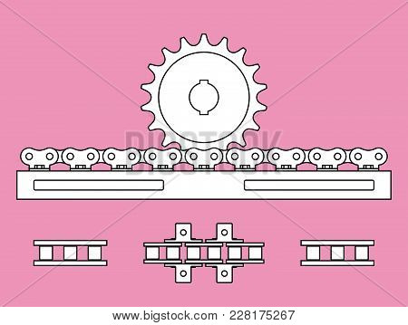 Sprocket Wheel And Chain Rack Vector Illustration On Pink Backgrounds