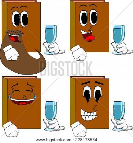 Books With A Glass Of Water. Cartoon Book Collection With Happy Faces. Expressions Vector Set.