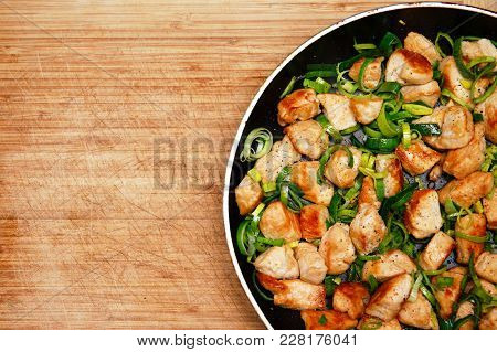 Roasted Chicken In A Frying Pan. Grilled Chicken. Homemade Food. Flat Lay, Top View. Copy Space For