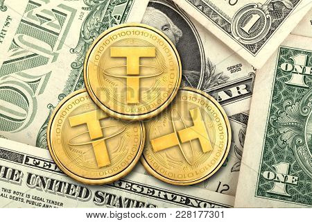 Concept Of Tether (or Usdt)  Equals To1 Us Dollar,  Cryptocurrency