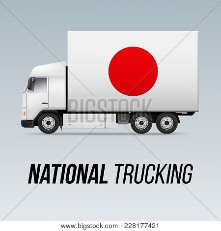 Symbol Of National Delivery Truck With Flag Of Japan. National Trucking Icon And Japanese Flag