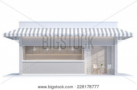 Vintage Shop On White Background  3d Rendering Image.decorate With White Brick Wall,canvas Canopy An