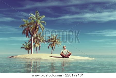 Young Man Relax On A Small Tropical Island.