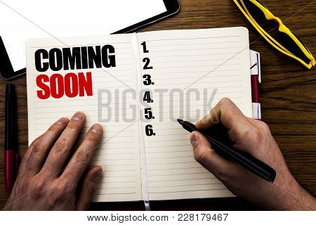 Word, Writing Coming Soon. Business Concept For Under Construction Written Book, Wooden Background W