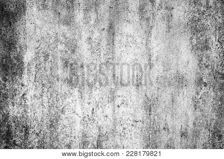 Old White Gray Cement Or Concrete  Wall. Grunge Plastered Stucco  Textured Background.