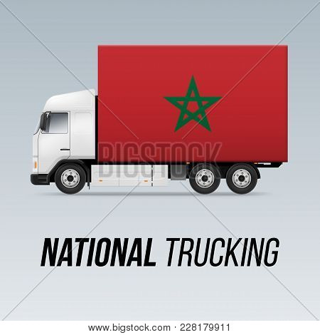 Symbol Of National Delivery Truck With Flag Of Morocco. National Trucking Icon And Moroccan Flag