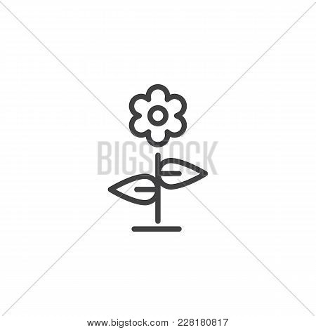 Flower Outline Icon. Linear Style Sign For Mobile Concept And Web Design. Floret With Leaves Simple