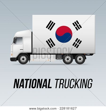 Symbol Of National Delivery Truck With Flag Of South Korea. National Trucking Icon And South Korean