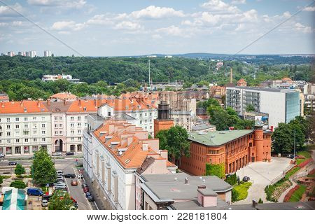 Poznan, Poland - June 28, 2016: View From Tower On Old Or Modern Buildings And Street In Polish City